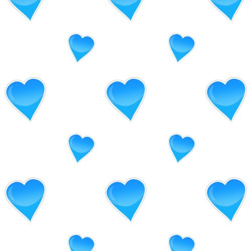 Glossy hearts blue