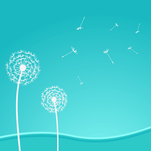 Dandelions Vector Background