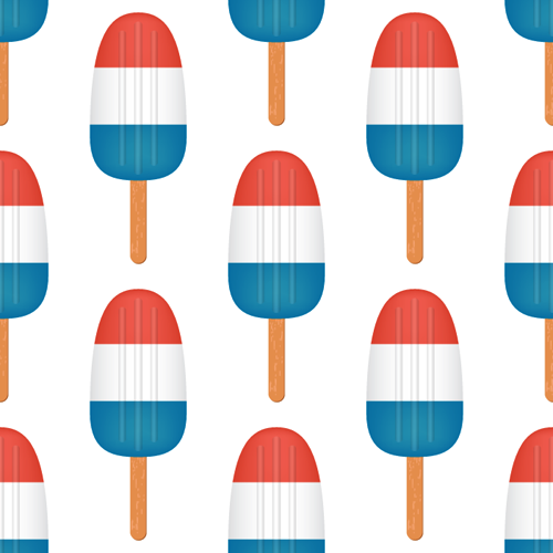 Red, White and Blue Ice Pops Pattern